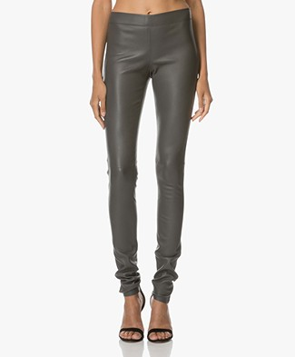 Joseph Leather Stretch Leggings - Grey