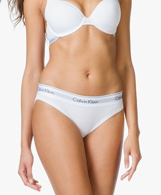Calvin Klein Modern Cotton Bikini Briefs - White/Black