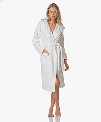Calvin Klein Hooded Cotton Terry Bathrobe - White