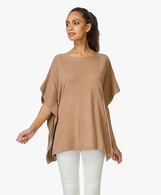 Repeat Large Cashmere Poncho Sweater - Caramel