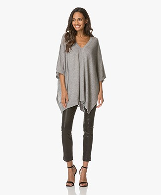 Repeat V-neck Poncho Sweater with Cashmere - Light Grey