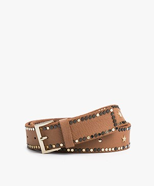 Zadig & Voltaire Starlight Leather Belt - Camel