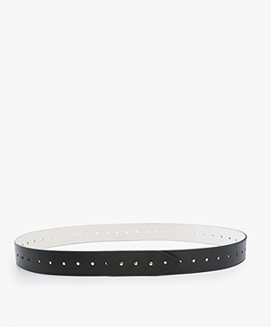 Filippa K Perforated Reversible Leren Riem - Zwart/Shadow