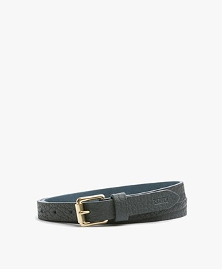 Closed Leather Belt with Gold-tone Buckle - Midnight Green