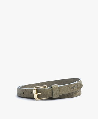 Closed Leather Belt with Gold-tone Buckle - Tropical Green