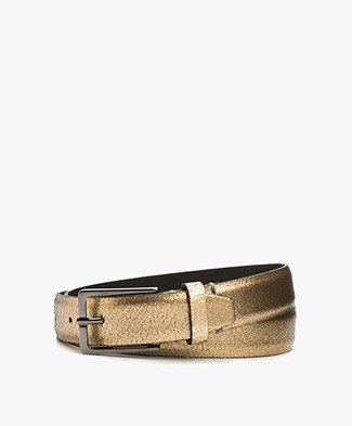 Drykorn Curly Craquelé Leather Belt - Gold