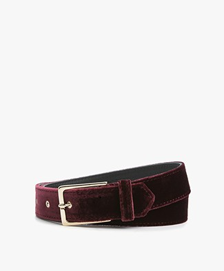 Drykorn Sloppy Velvet Belt - Burgundy