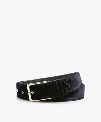 Drykorn Sloppy Velvet Belt - Dark Blue