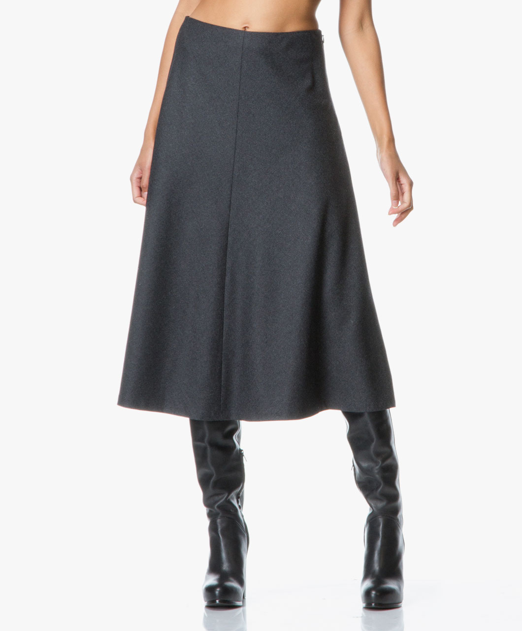 Theory Uthema Flared Skirt in Pure Flannel - Dark Charcoal - Theory