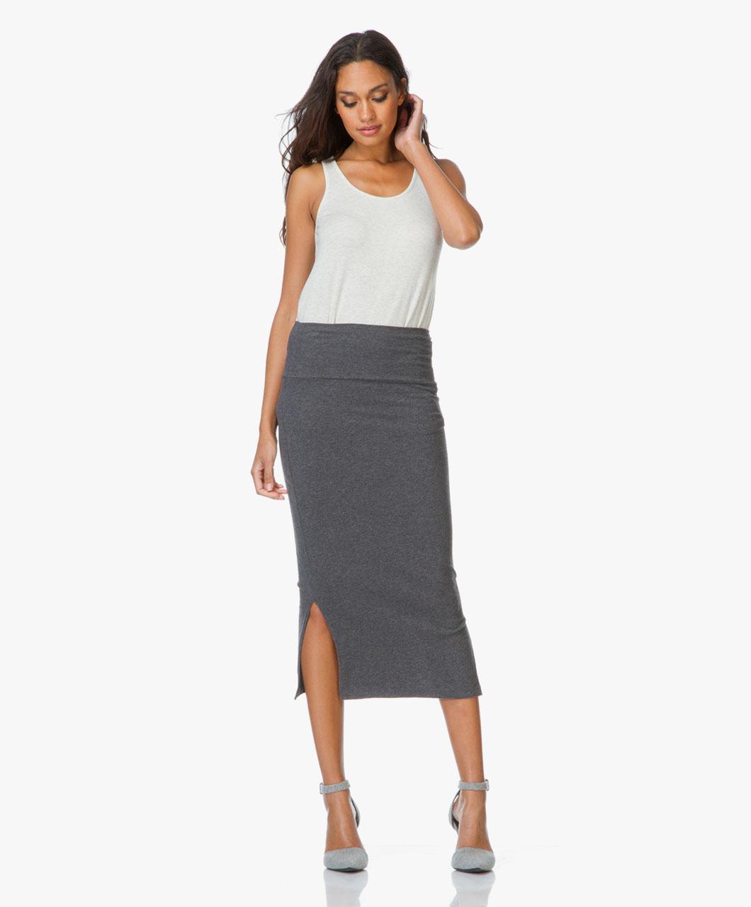 James Perse Midi-skirt with Double Split - Dark Grey Melange ...