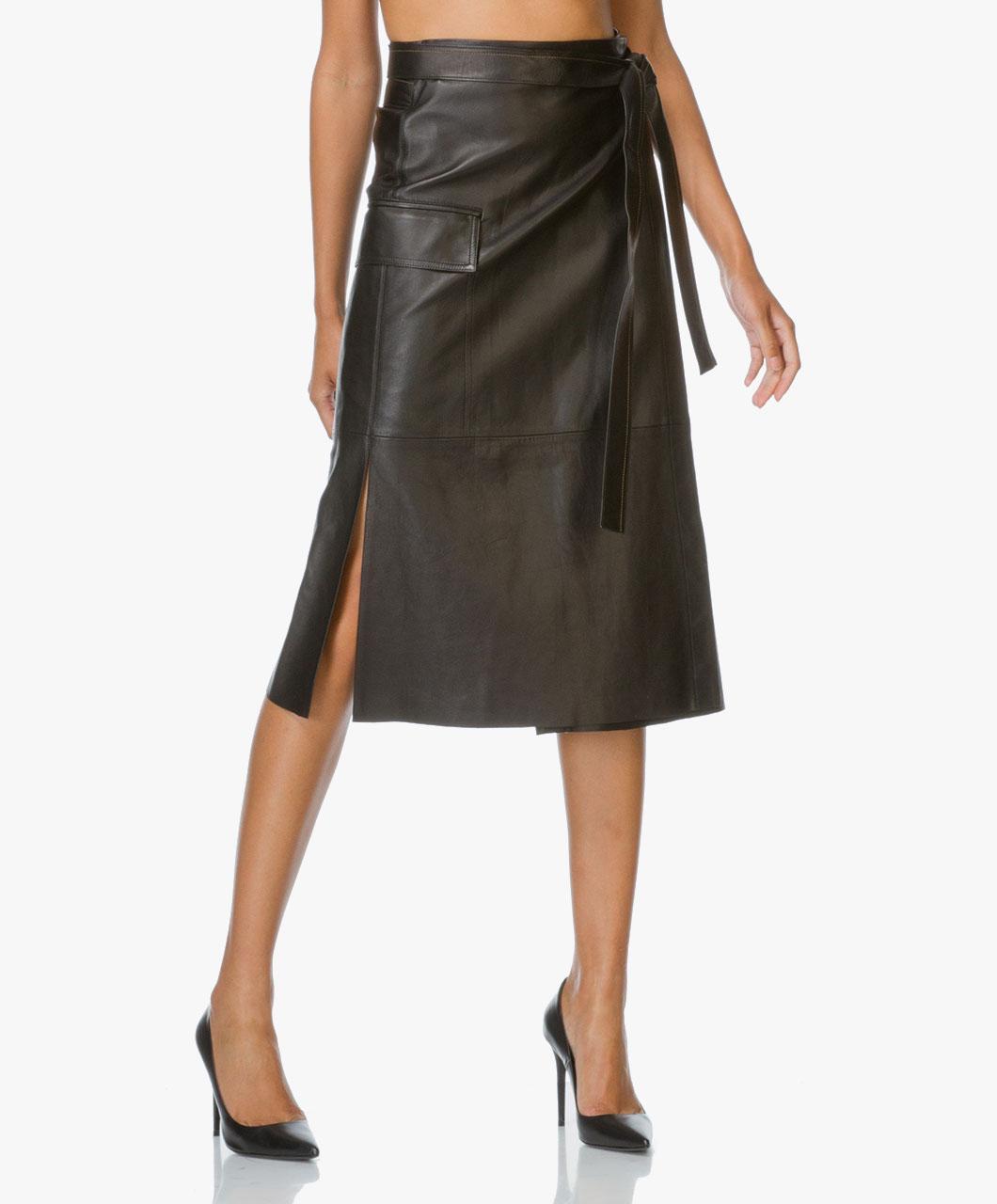 helmut lang leather wrap skirt black g06hw305 001