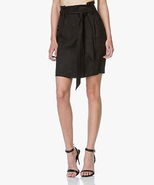 Frame Le Pencil Cupro Skirt - Black