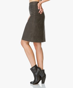 Drykorn Enid Suede Leather Skirt - Grey