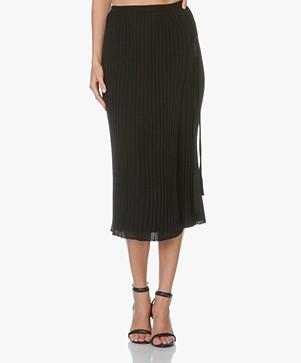 Helmut Lang Layered Rib Wrap Skirt - Black