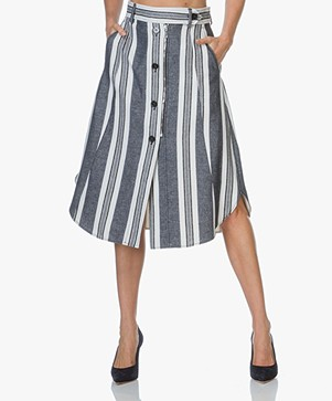 Sportmax Abituro Striped Skirt - White/Blue Print