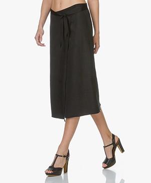 Majestic Linen Wrap Skirt - Black