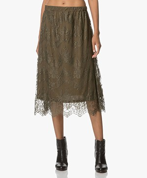 Indi & Cold Falda Lace Skirt - Khaki Green