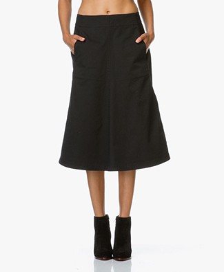 T by Alexander Wang A-line Midi Skirt - Black
