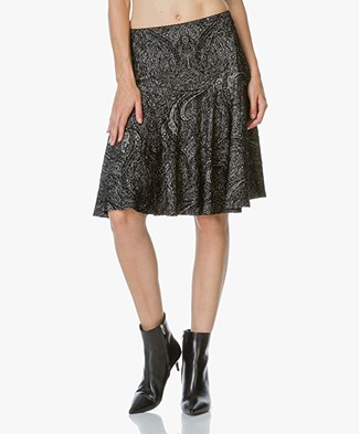 no man's land Paisley Print Skirt - Black