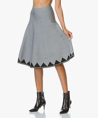 Alexander Wang Gingham Stretch Knit Skirt - Black/White
