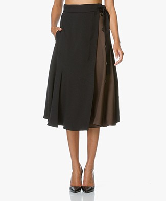 Sportmax Epica Two-tone A-line Skirt - Black/Brown