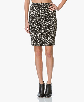 no man's land Print Skirt - Black