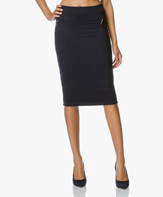 Josephine & Co Eliana Jersey Pencil Skirt - Navy