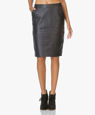 BY-BAR Leather Pencil Skirt in Navy