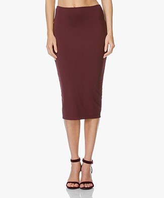 T by Alexander Wang High Lux Fitted Skirt - Aubergine