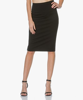 Theory Jersey Pencil Skirt Lijnek in Ponte - Black