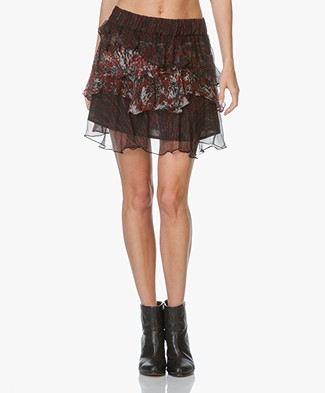 IRO Loey Ruffle Print Skirt - Black/Red