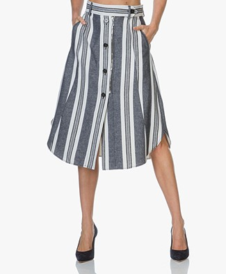 Sportmax Abituro Striped Skirt - White/Blue Print
