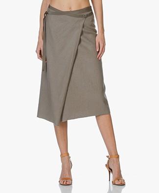 Majestic Linen Wrap Skirt - Khaki