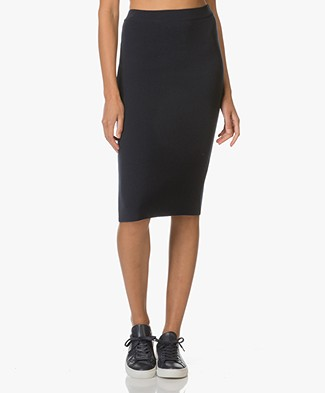 Sibin/Linnebjerg Greta Merino-knit Pencil Skirt - Navy
