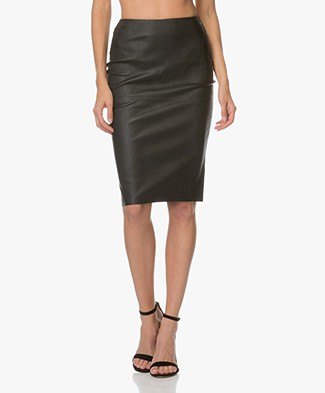 By Malene Birger Floridia Leather Pencil Skirt - Black