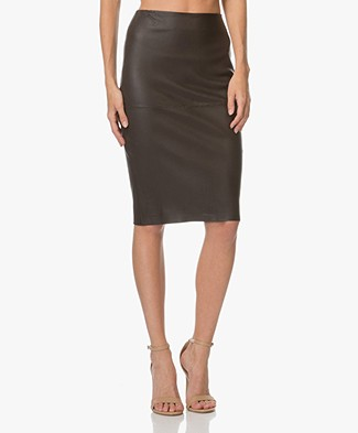 By Malene Birger Floridia Leather Pencil Skirt - Dark Chokolate