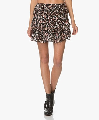 IRO Brooks Ruffled Printed Georgette Skirt - Black/Red
