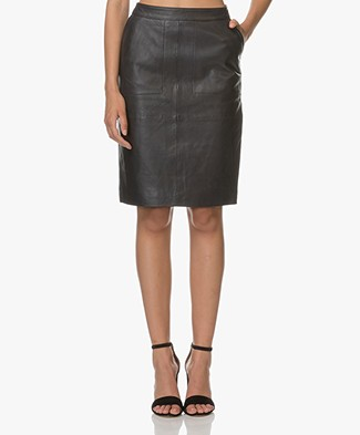 BY-BAR Leather Pencil Skirt - Navy