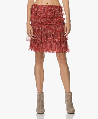 IRO Canwood Ruffle Print Skirt - Red/Ecru