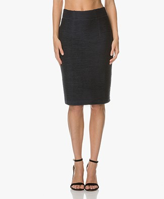 Kyra & Ko Emma Rib Jersey Pencil Skirt - Navy