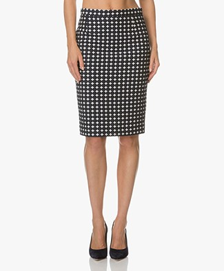 Kyra & Ko Nea Jacquard Pencil Skirt - Navy/Off-white