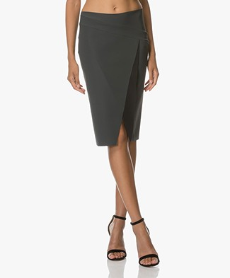 JapanTKY Raiko Wrap Design Pencil Skirt - Dark Grey/Black