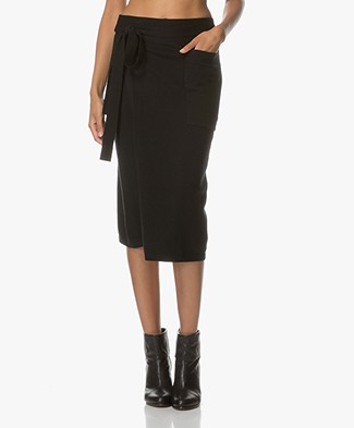 Joseph Wrap Skirt Pareo in Cashmere - Black
