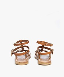 K. Jacques St. Tropez Larissa Leather Studded Sandals - Naturel