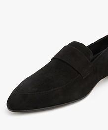 Panara Suede Slip On with Flat Heel - Black