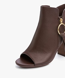 See by Chloé Dustin Leather Ankle Boots - Giandiu/Brown