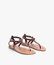 K. Jacques St. Tropez Buffon Leather Sandals - Marron