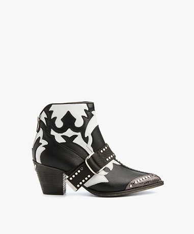 Zadig et Voltaire Leather Cara Boots - Black/White