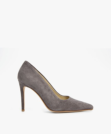Feraggio Suede Pumps - Graphite Grey