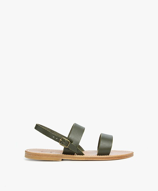 K. Jacques St. Tropez Barigoule Leather Sandals - Khaki